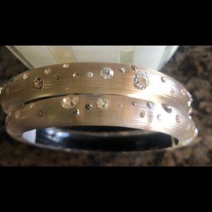 Alexis Bittar hinged crystal bracelets - beige